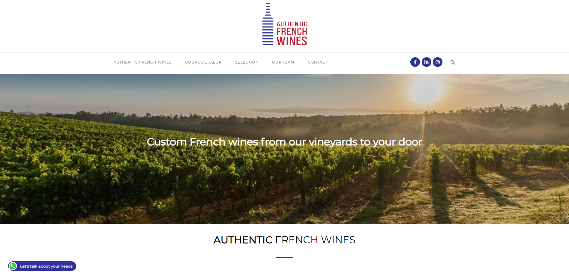 Authentic French Wines Adwines - Création site internet Geoffrey Leduc