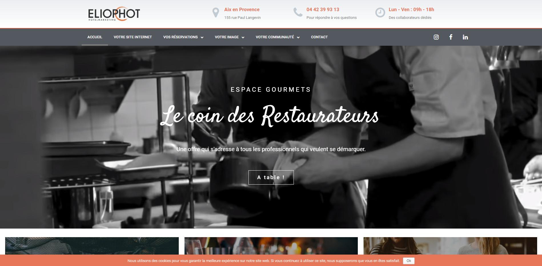 Espace Restauranteurs Eliophot - Geoffrey Leduc - Création site internet