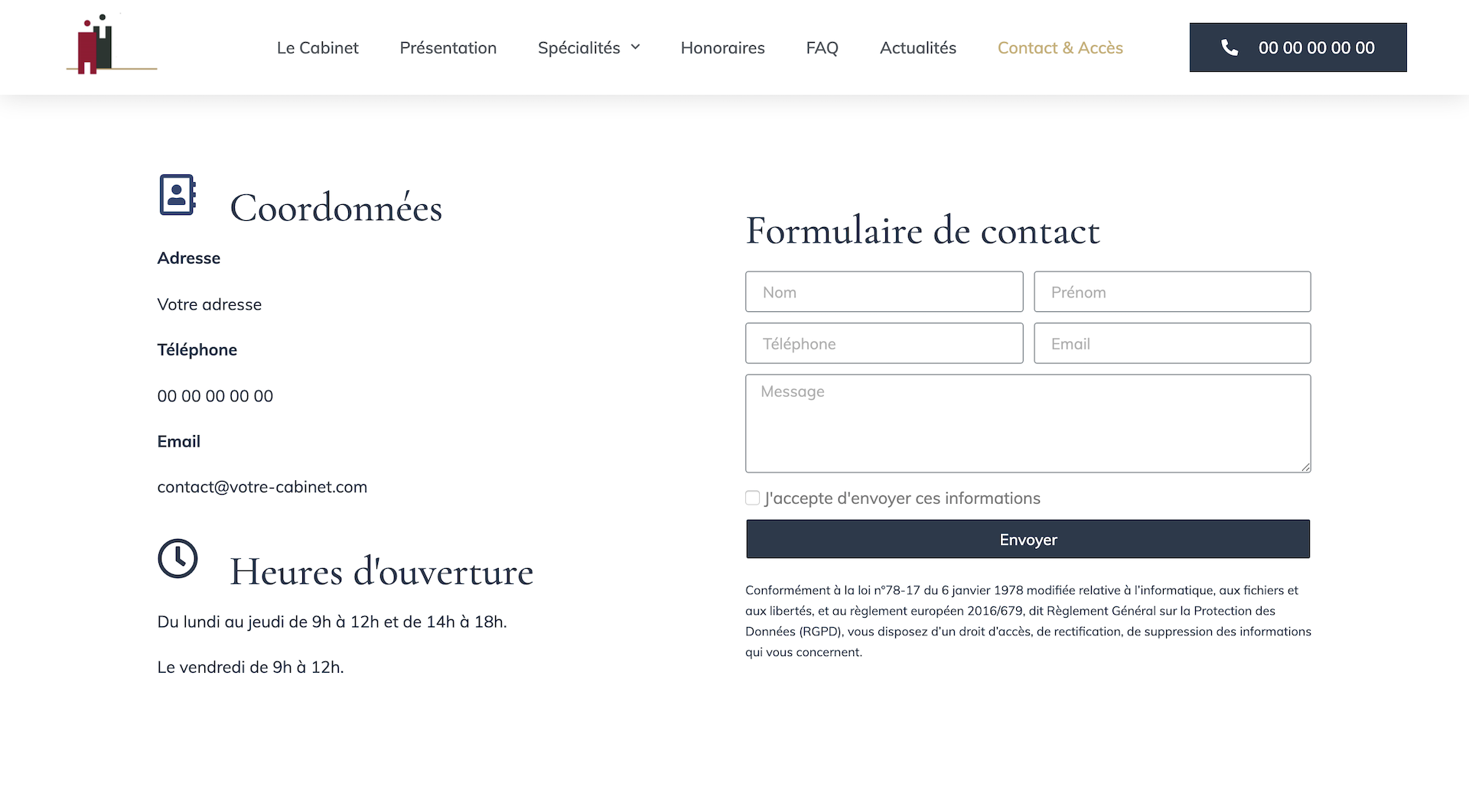 La page contact & accès