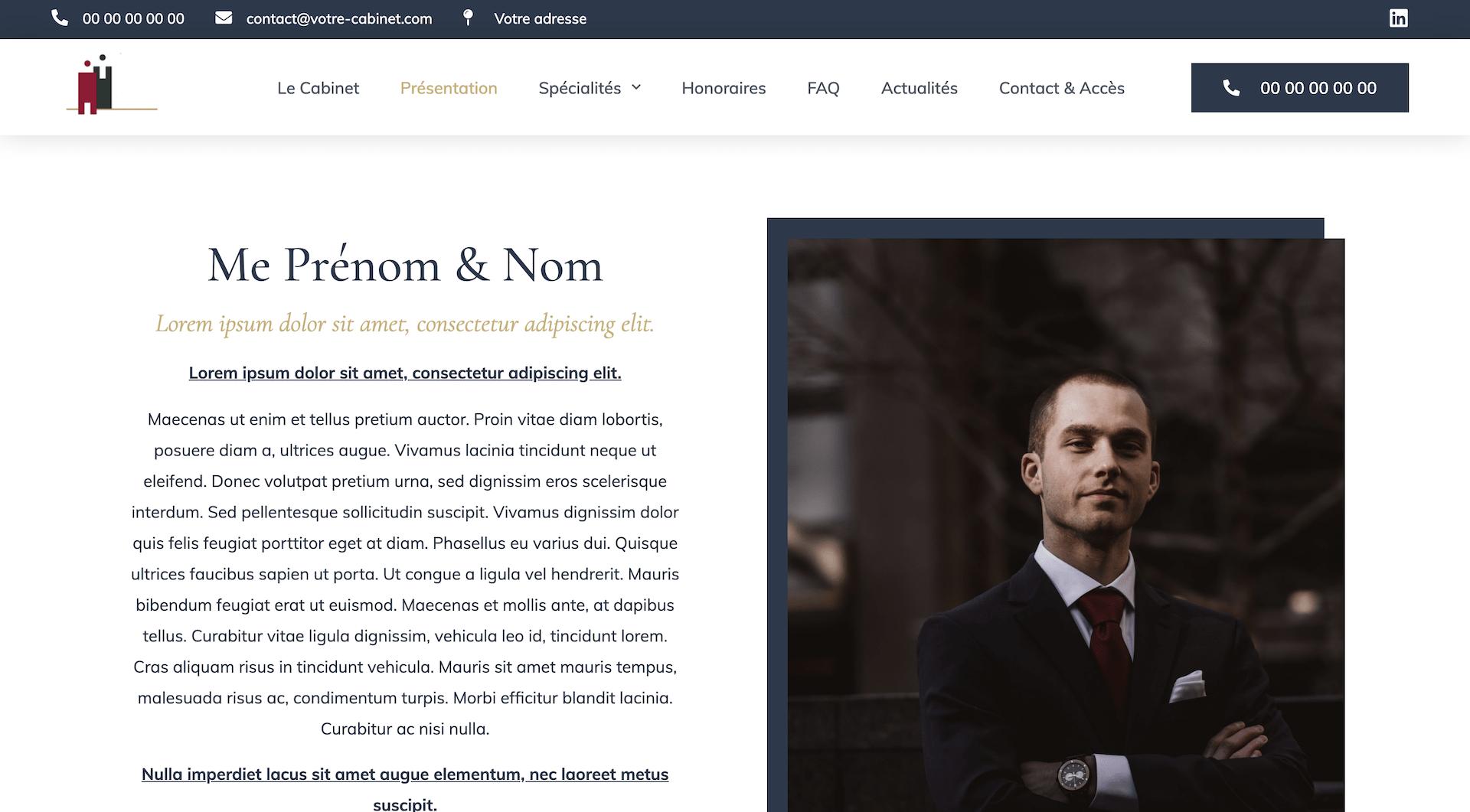 La page de présentation