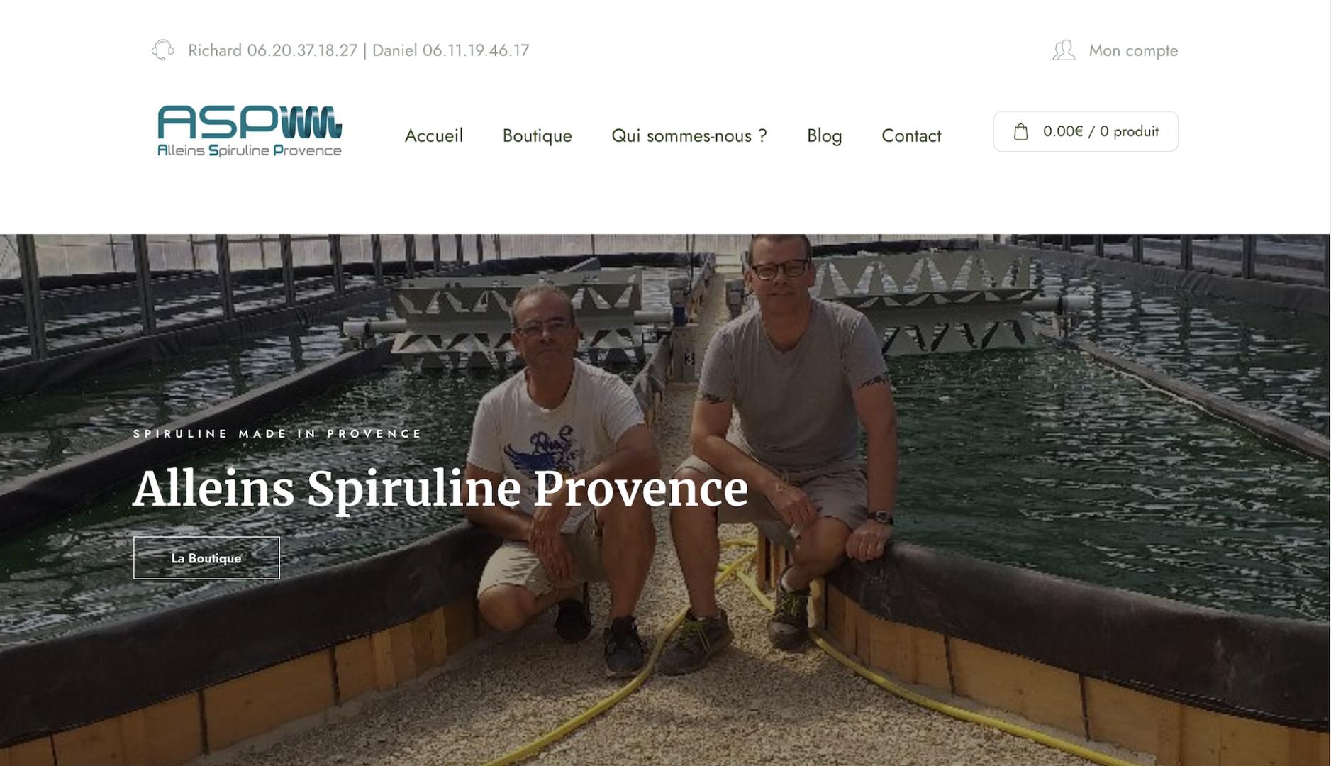 Alleins Spiruline - Producteur Spiruline Provence - Geoffrey Leduc Création site internet
